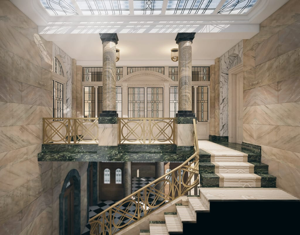 A detailed look of the Grand Staircase to the Boardroom Suite here at the Stock Exchange Hotel