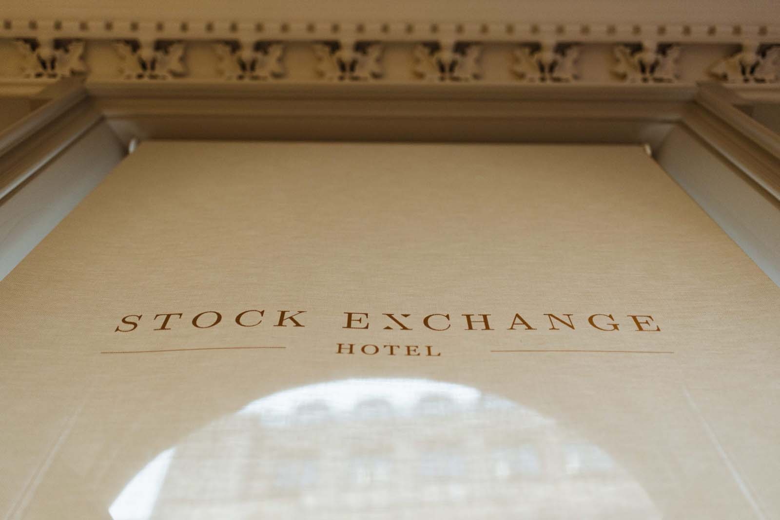 Curtain with Stock Exchange Hotel logo