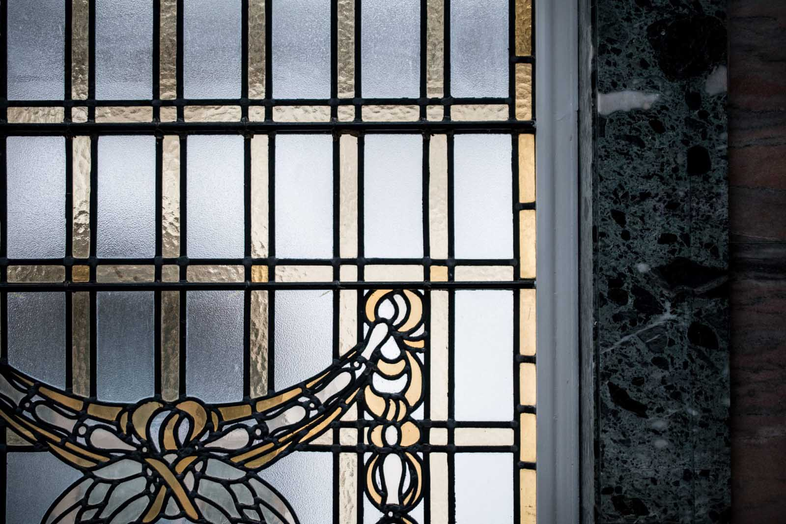 Stain glass window with granite edging
