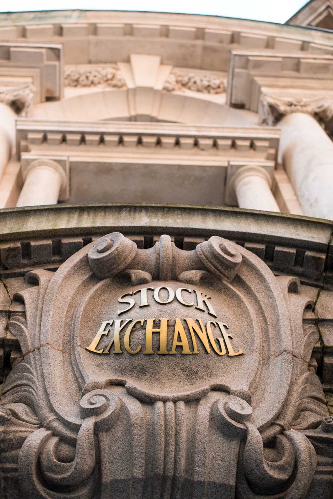 Picture of the front of the Stock Exchange